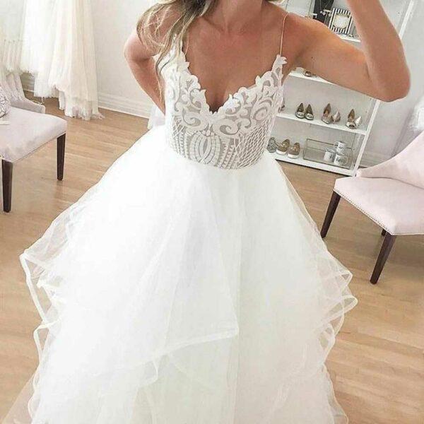 Robe De Mariée Volants Blanche | Soirée Blanche