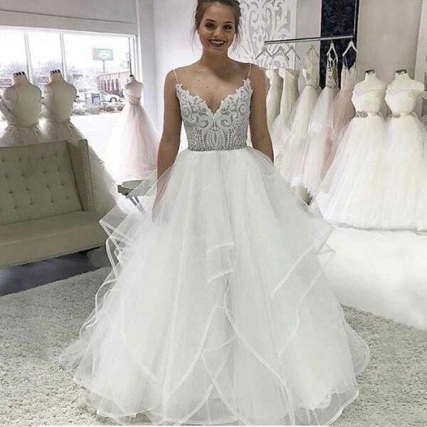Robe De Mariée Volants | Soirée Blanche