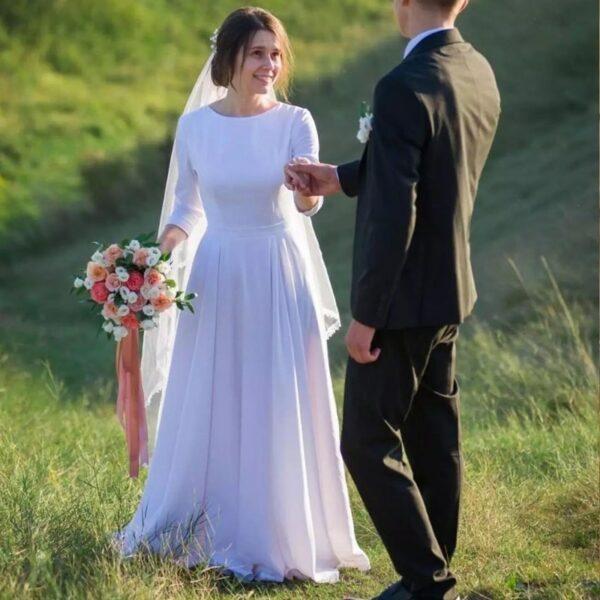 Robe De Mariée Simple Et Chic Blanche | Soirée Blanche
