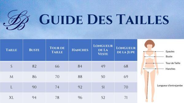 Guide des Tailles - Tailleur Jupe Femme Mariage Dentelle Ivoire - Soirée Blanche