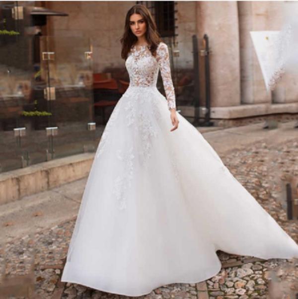 Robe De Mariée Moderne A Manche Longue Blanche | Soirée Blanche