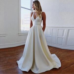 Robe De Mariée Simple Avec Nœud Blanche | Soirée Blanche