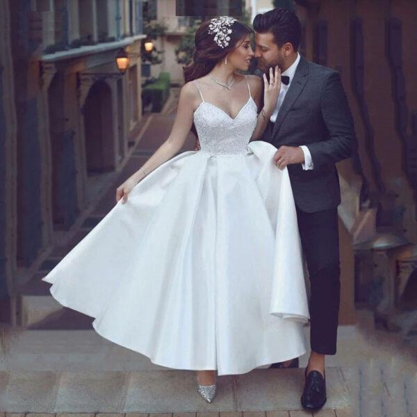 Robe De Mariée Courte Volumineuse Blanche | Soirée Blanche