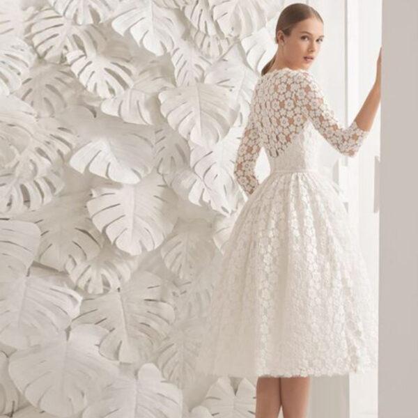 Robe De mariée Courte Dentelle Florale Blanche | Soirée Blanche