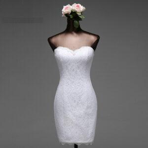 Robe De Mariée Courte Près Du Corps Blanche   Soirée Blanche