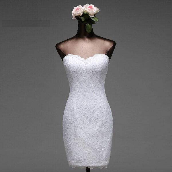 Robe De Mariée Courte Près Du Corps Blanche | Soirée Blanche