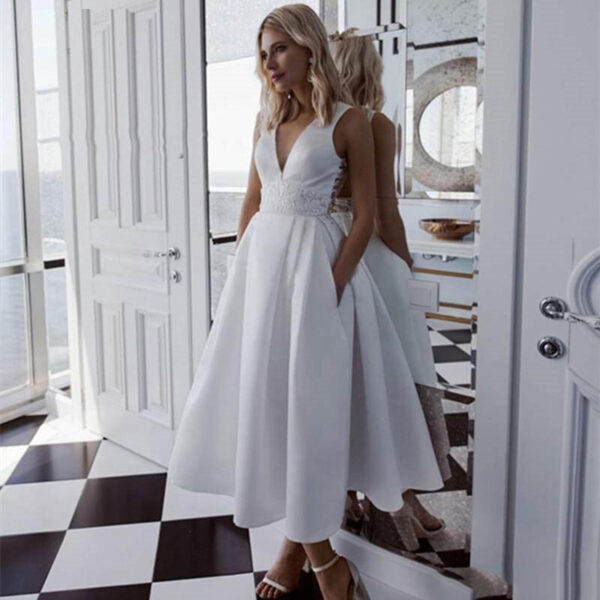 Robe De Mariée Courte Grande Taille | Soirée Blanche