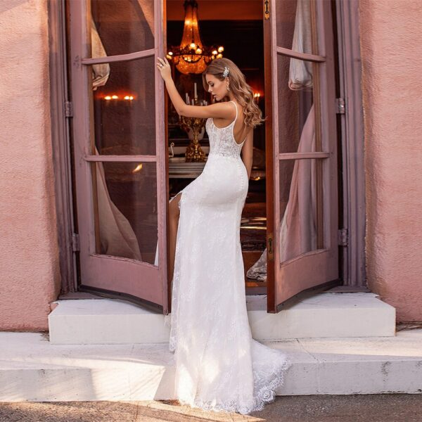 Robe De Mariée Sirène Fendu Blanche | Soirée Blanche
