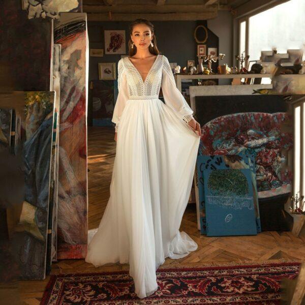 Robe De Mariée Avec Traine | Soirée Blanche