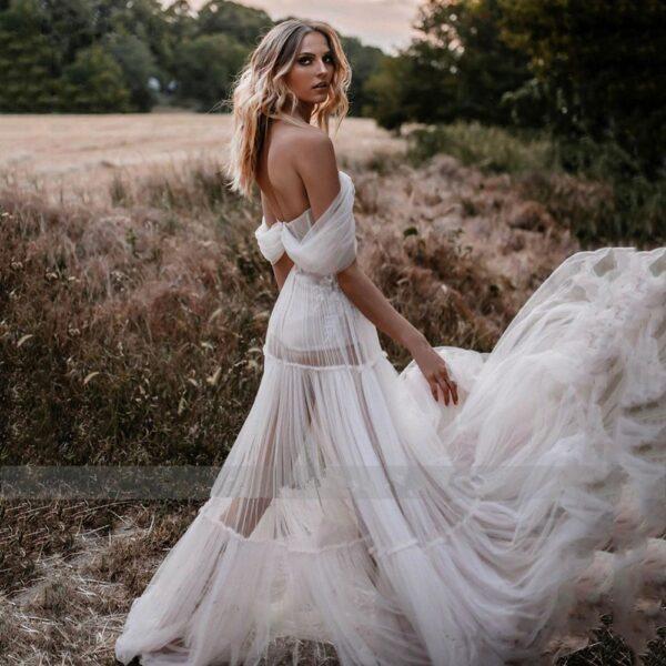Robe De Mariée Jupe Transparente Blanche | Soirée Blanche