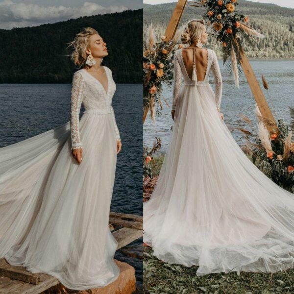 Robe De Mariée Romantique Champêtre Blanche | Soirée Blanche