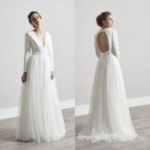 Robe De Mariée Simple A Manches Longues Blanche | Soirée Blanche