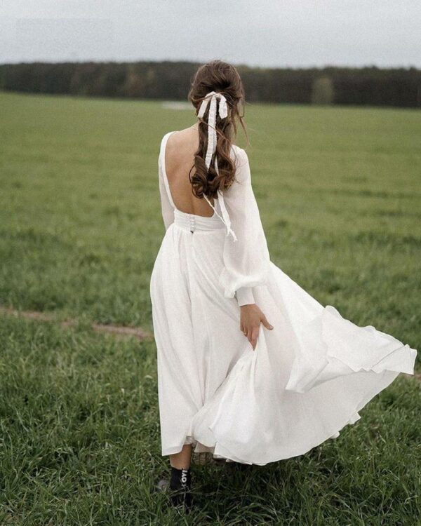 Robe De Mariée Courte Fluide Blanche   Soirée Blanche
