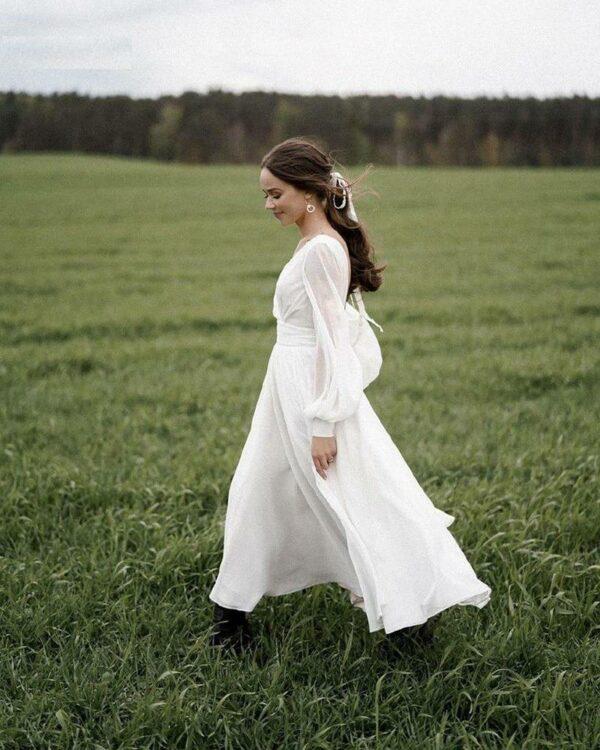 Robe De Mariée Courte Fluide   Soirée Blanche