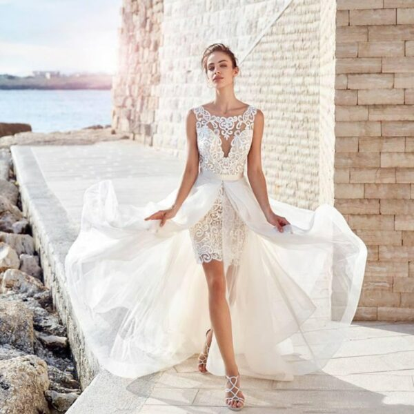 Robe De Mariée Courte Détachable Blanche | Soirée Blanche
