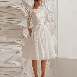 Robe De mariée Courte Dentelle Florale Blanche   Soirée Blanche