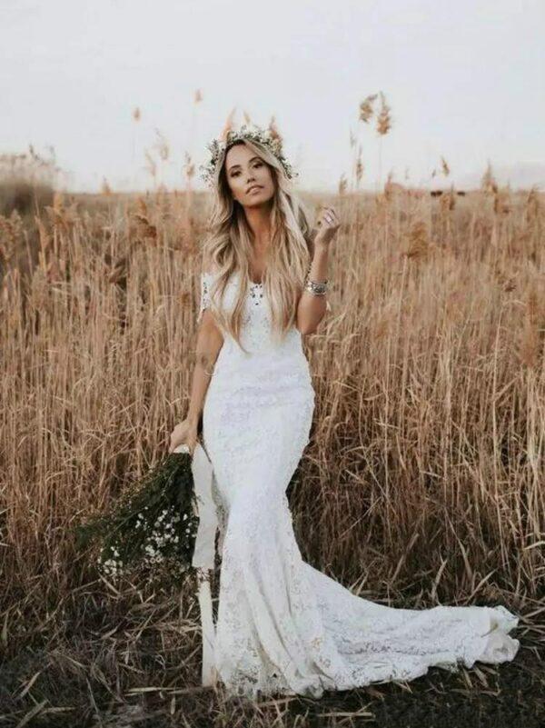 Robe De Mariée Sirène Champêtre Blanche | Soirée Blanche