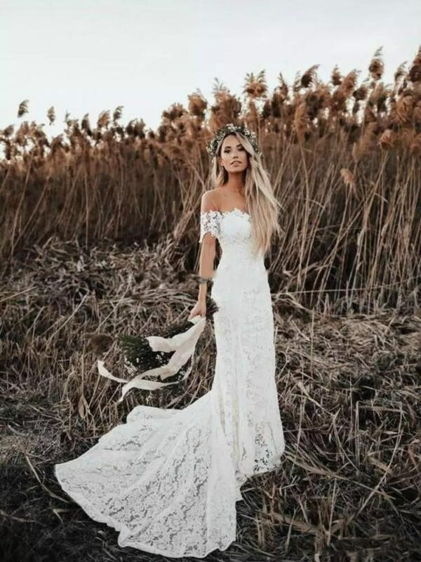 Robe De Mariée Sirène Champêtre | Soirée Blanche