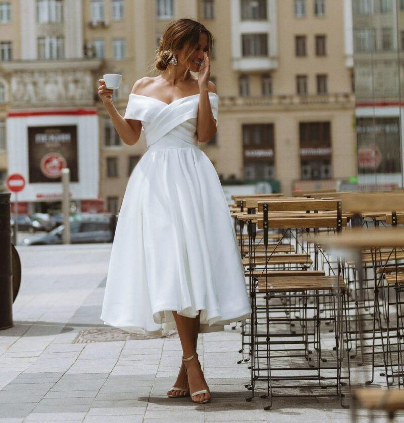 Robe De Mariée Courte Manches Croisées Blanche | Soirée Blanche