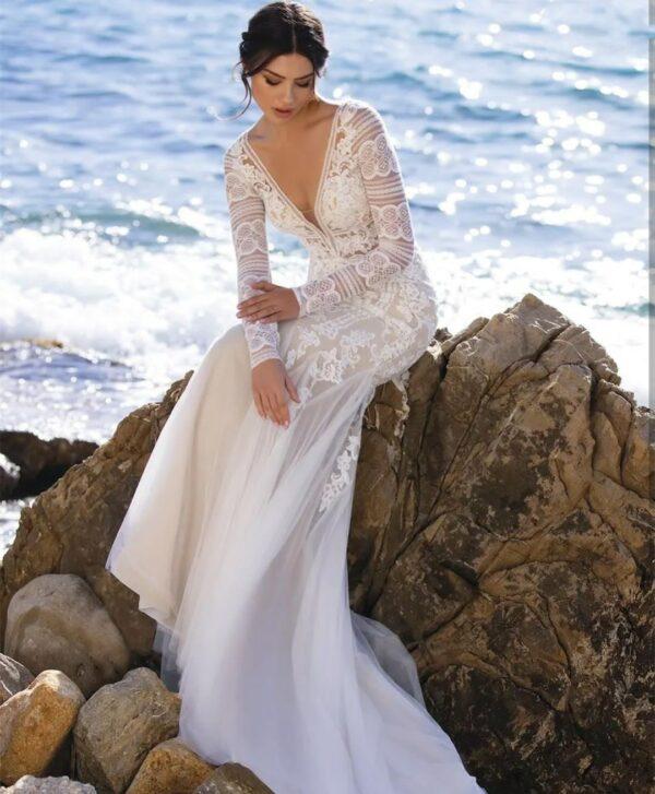 Robe De Mariée Sirène Bohème A Manche Longue Blanche | Soirée Blanche