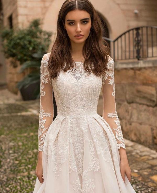 Robe De Mariée Bohème Col Bateau Blanc | Soirée Blanche