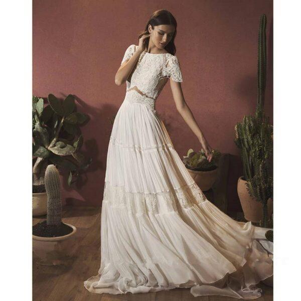 Robe De Mariée Bohème Fluide Blanche | Soirée Blanche
