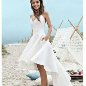 Robe De Mariée Courte Asymétrique Blanche | Soirée Blanche
