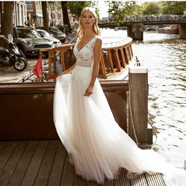 Robe De Mariée Simple Bohème Blanche |