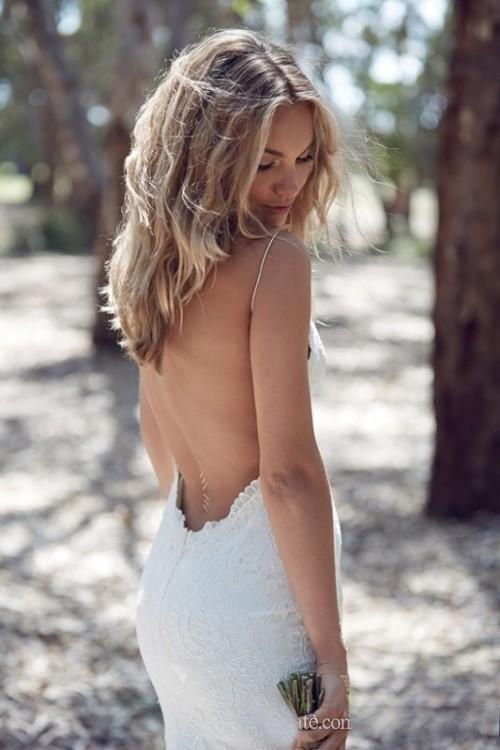 Robe De Mariée Sirène A Dentelle Blanche | Soirée blanche
