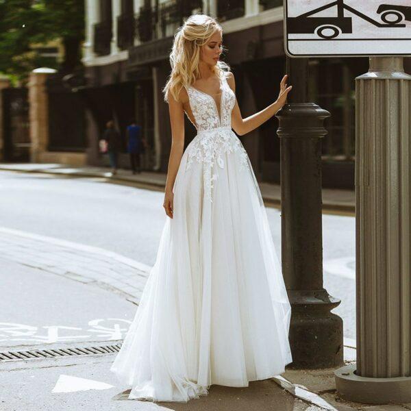 Robe De Mariée En Tulle Blanche | Soirée Blanche