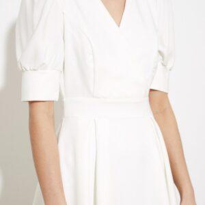Robe Blanche Patineuse Courte et Fluide   Soirée Blanche