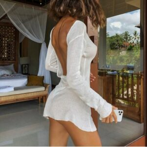 Robe Blanche Courte Moulante et Transparente | Soirée Blanche