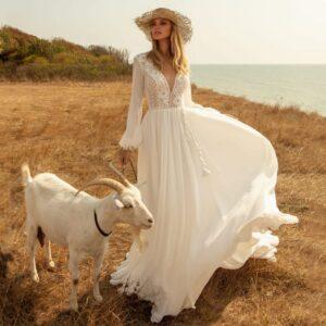 Robe de Mariée Bohème Motif Floral Blanche | Soirée blanche