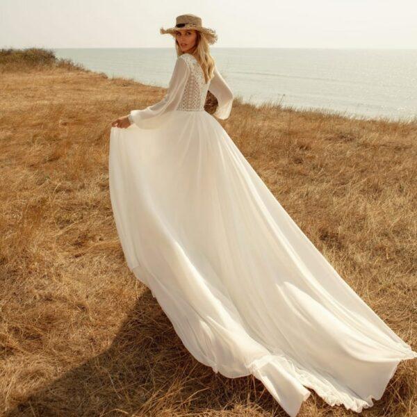 Robe de Mariée Bohème Motif Floral | Soirée Blanche