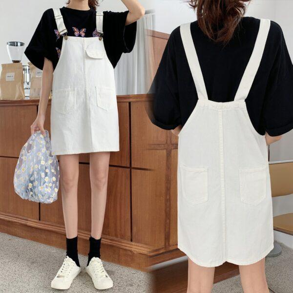 Robe Salopette Blanche Avec Poche | Soirée Blanche