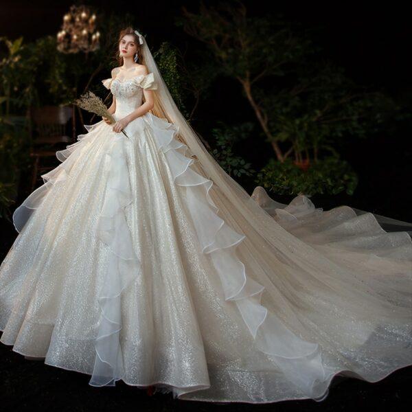 Robe de Mariée Princesse Strass Blanche | Soirée Blanche