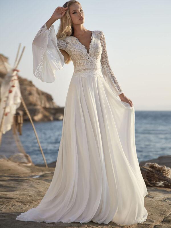 Robe de Mariée Bohème Manche Cloche Blanche | Soirée Blanche