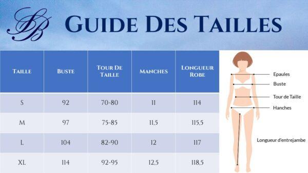 Guide des Tailles - Robe Blanche Mi Longue - Soirée Blanche