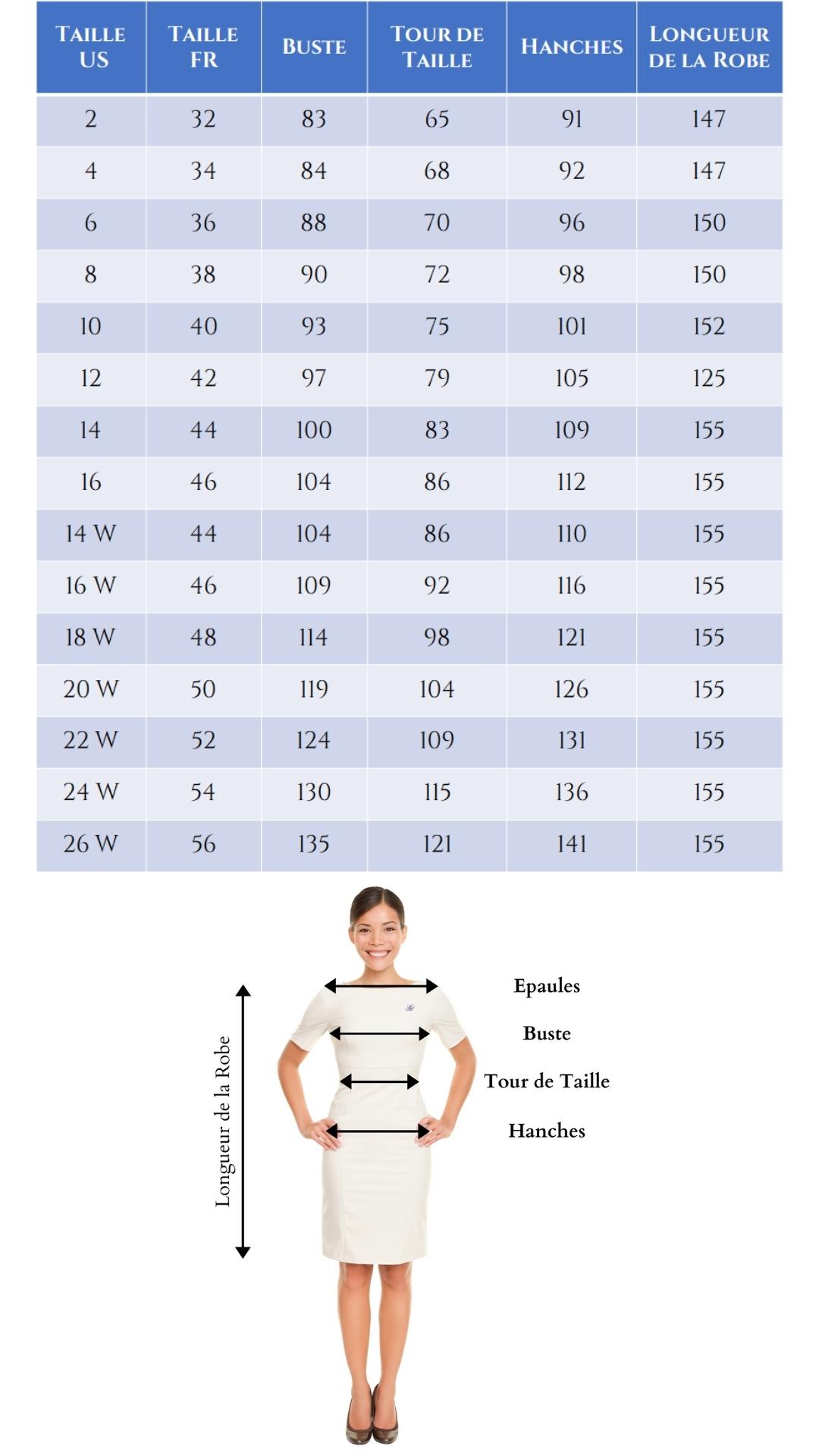 Guide des Tailles - Robe de Mariée - Soirée Blanche
