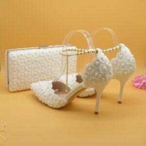 Ensemble Chaussure Et Sac De Mariage Blanc | Soirée Blanche