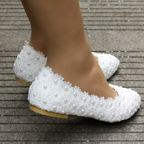 Chaussures De Mariée Blanches En Dentelle | Soirée Blanche