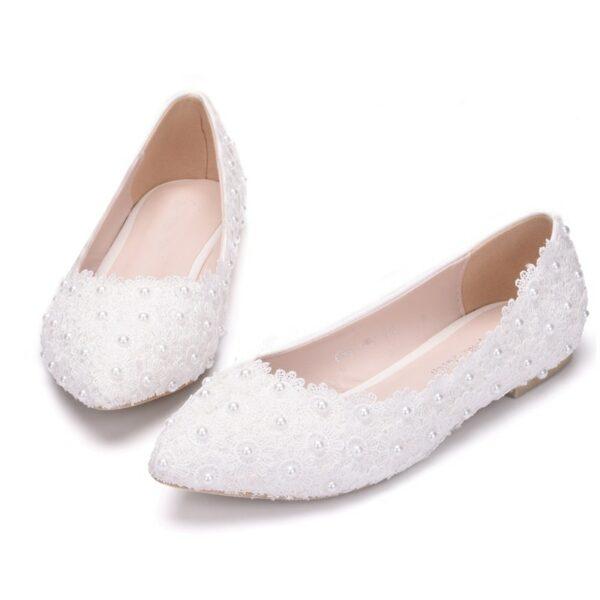 Chaussures De Mariée Blanche En Dentelle | Soirée Blanche