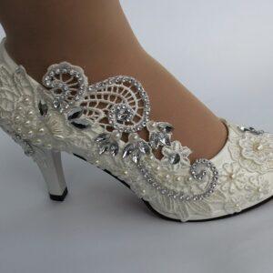 Chaussures De Mariée Blanche Avec Strass | Soirée Blanche