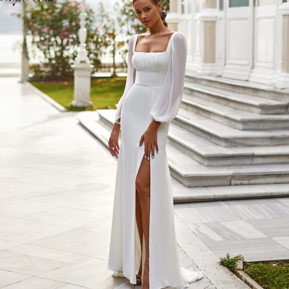 Robe De Mariée Sirène Fendue Blanche   Soirée Blanche