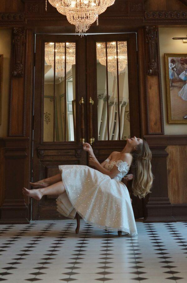 Robe De Mariée Courte Brillante Blanche | Soirée blanche