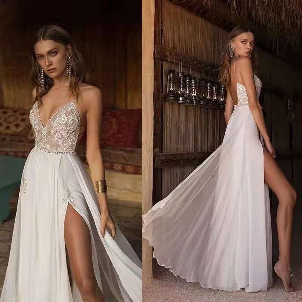 Robe De Mariée Bohème Sexy Dos Nu Blanche   Soirée Blanche