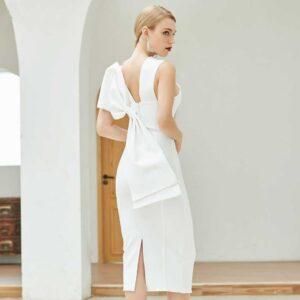 Robe Blanche Cocktail Bandage | Soirée Blanche