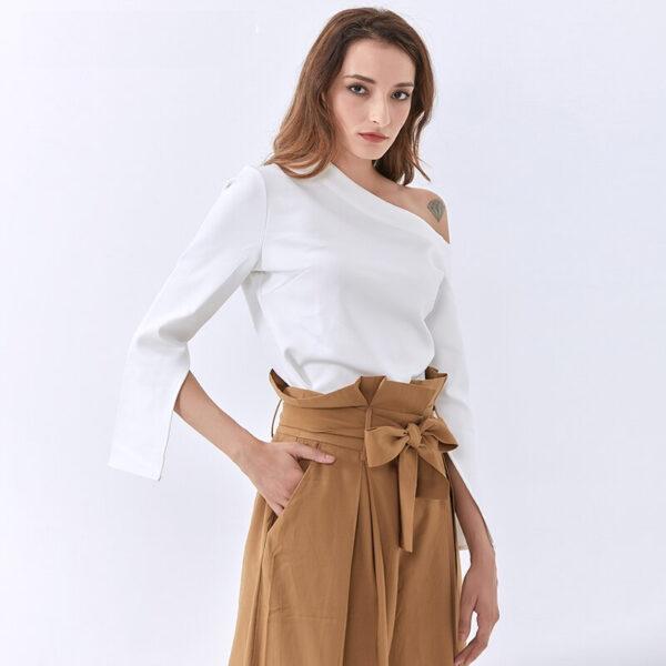 Tee Shirt Blanc Asymétrique Femme | Soirée Blanche