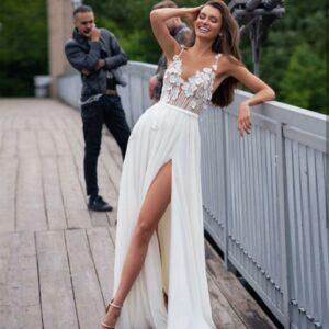 Robe De Mariée Simple Fleurie Blanche | Soirée Blanche