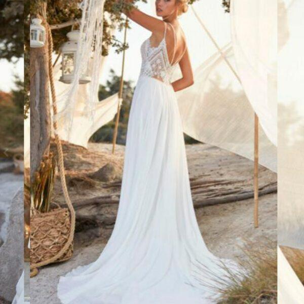 Robe De Mariée Bohème Chic Blanche | Soirée Blanche